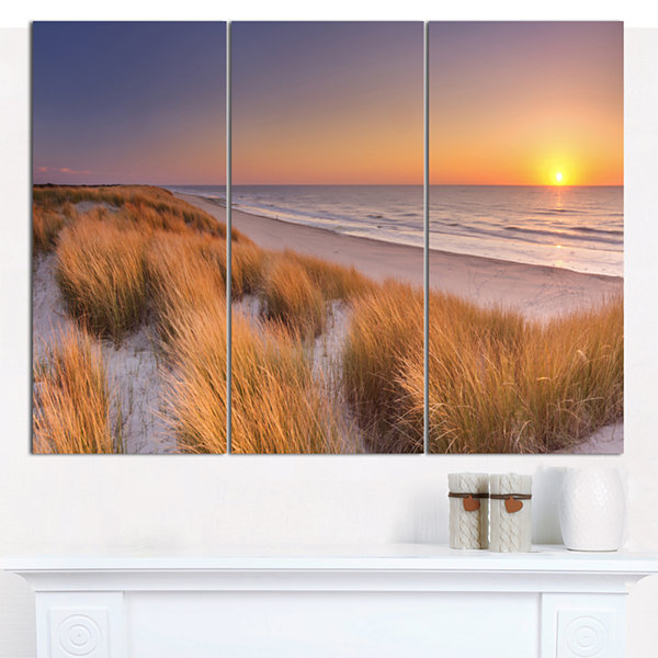 Designart Sunset On Texel Island Beach Modern Seashore Canvas Wall Art - 3 Panels
