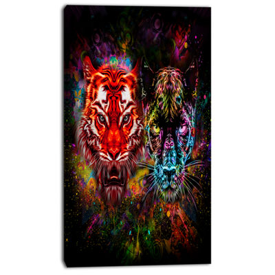 Designart Tiger And Panther With Splashes AnimalCanvas Art Print