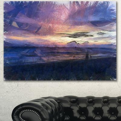 Designart Sunset Over Blue Sea Watercolor Landscape Canvas Wall Art