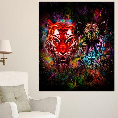 Designart Tiger And Panther With Splashes AnimalCanvas Art Print