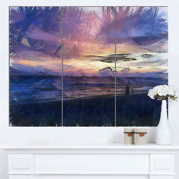 Designart Sunset Over Blue Sea Watercolor Landscape Canvas Wall Art - 3 Panels