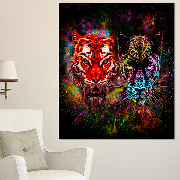 Designart Tiger And Panther With Splashes AnimalCanvas Art Print - 3 Panels