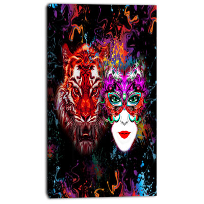 Designart Tiger And Woman Colorful Faces AbstractWall Art Canvas