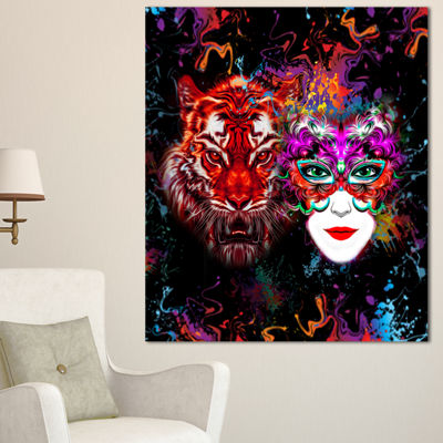 Designart Tiger And Woman Colorful Faces AbstractWall Art Canvas - 3 Panels