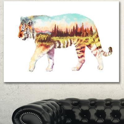 Designart Tiger Double Exposure Illustration LargeAnimal Canvas Art Print