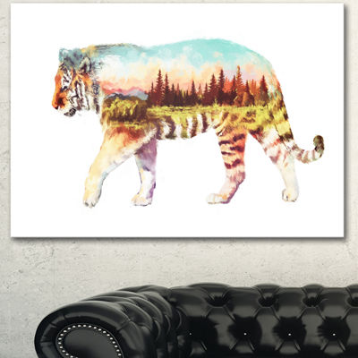 Designart Tiger Double Exposure Illustration LargeAnimal Canvas Art Print - 3 Panels