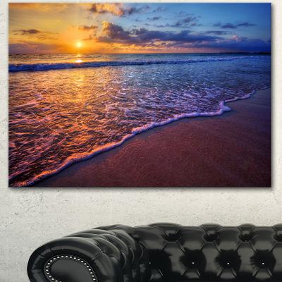 Designart Sunset Over Blue Seashore Seashore PhotoCanvas Art Print