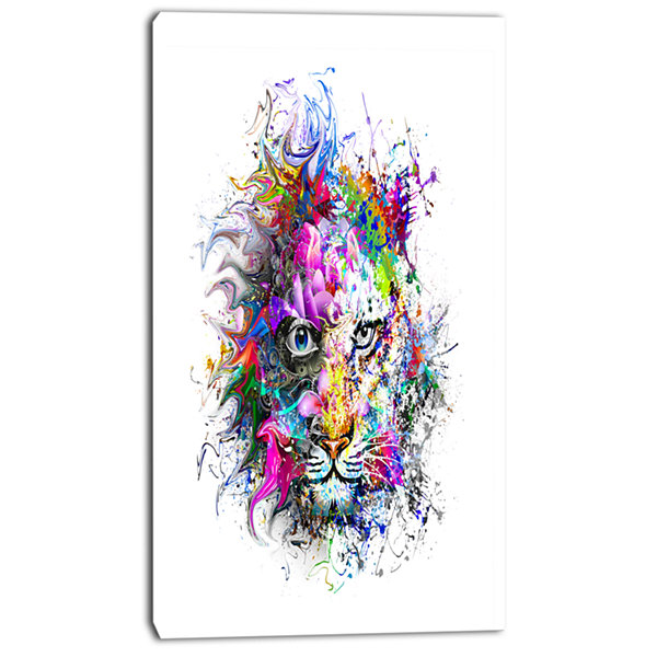 Designart Tiger Face In Colorful Splashes AbstractWall Art Canvas