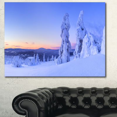 Designart Sunset Over Frozen Trees Modern Landscape Canvas Art - 3 Panels