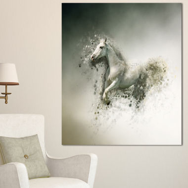 Designart Smart White Horse Running Animal CanvasWall Art
