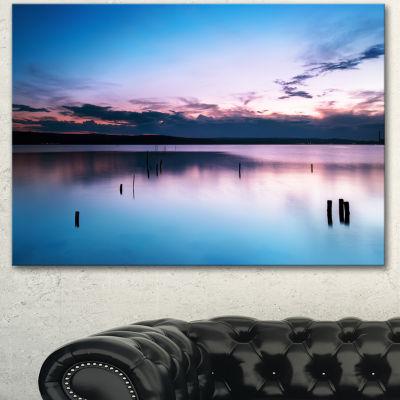 Designart Sunset Over Lake Blue Everywhere Seashore Canvas Art Print - 3 Panels
