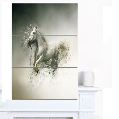 Designart Smart White Horse Running Animal CanvasWall Art - 3 Panels