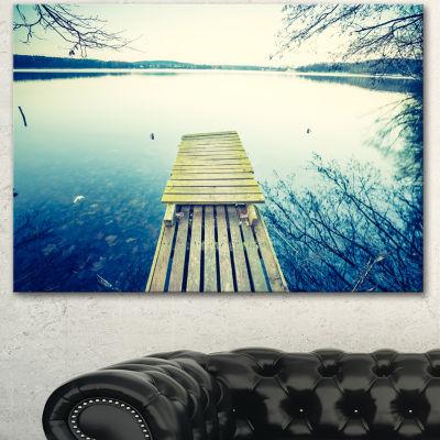 Designart Sunset Over Tranquil Lake Bridge CanvasArt Print - 3 Panels