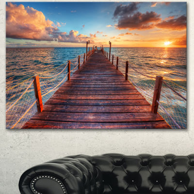 Designart Sunset Over Wooden Sea Pier Modern Canvas Art Print - 3 Panels