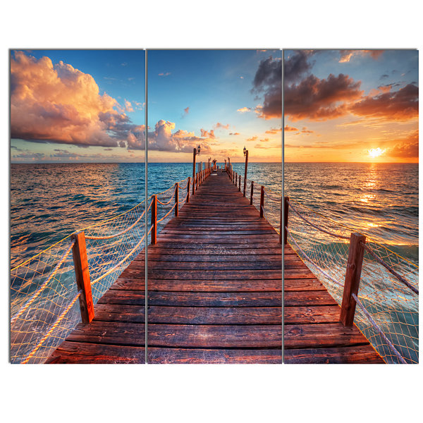 Design Art Sunset Over Wooden Sea Pier Modern Canvas Art Print - 3 Panels