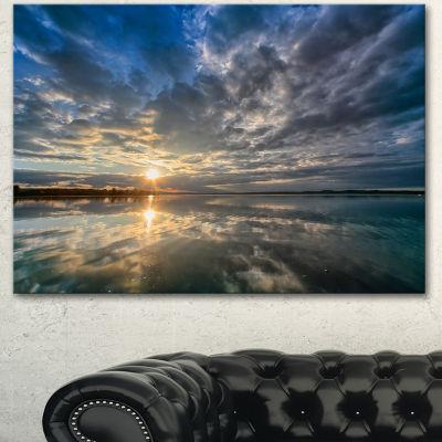 Designart Sunset With Dramatic Sky And Sea Seashore Canvas Art Print
