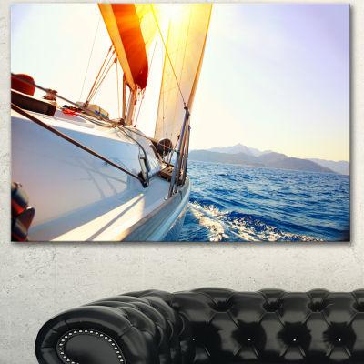 Design Art Sailboat Sailing In The Blue Sea LargeSeashore Canvas Wall Art - 3 Panels