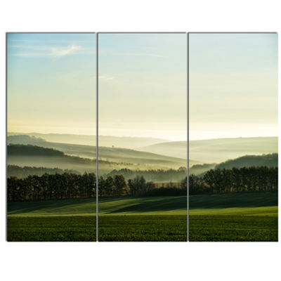 Designart Superb Green Hills In The Fog LandscapeCanvas Art Print - 3 Panels