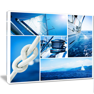 Designart Sailing Yacht In Blue Sea Collage LargeSeashore Canvas Wall Art