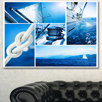 Design Art Sailing Yacht In Blue Sea Collage LargeSeashore Canvas Wall Art - 3 Panels