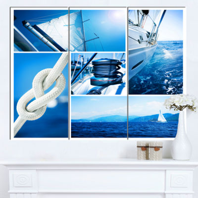 Designart Sailing Yacht In Blue Sea Collage LargeSeashore Canvas Wall Art - 3 Panels