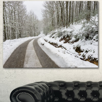 Designart Snow Storm At Piornedo Spain Large Landscape Canvas Art
