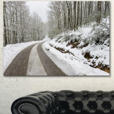 Designart Snow Storm At Piornedo Spain Large Landscape Canvas Art - 3 Panels
