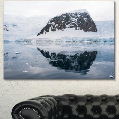 Designart Snowcap Hill In Antarctica Seashore Canvas Art Print