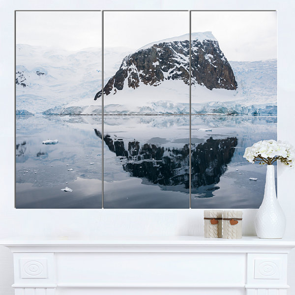 Design Art Snowcap Hill In Antarctica Seashore Canvas Art Print - 3 Panels