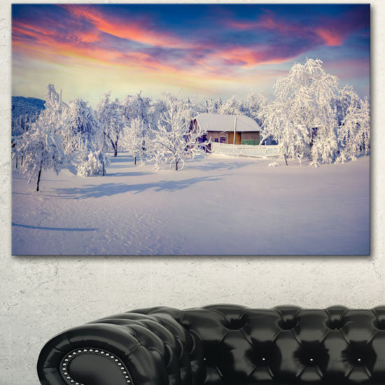Designart Snowfall Covering Trees And Houses LargeLandscape Canvas Art Print