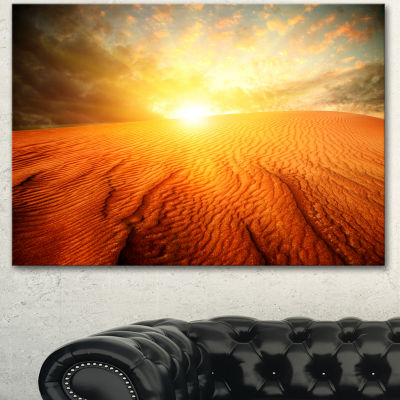 Designart Sand Landscape With Sun Large LandscapeCanvas Art Print - 3 Panels