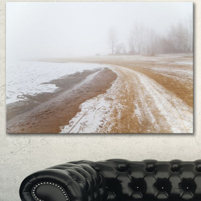 Designart Sandy Beach In The Winter Fog Modern Seashore Canvas Art