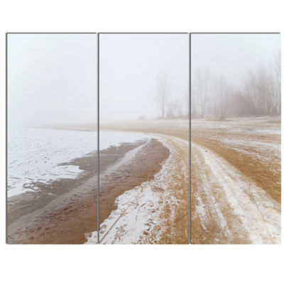 Designart Sandy Beach In The Winter Fog Modern Seashore Canvas Art - 3 Panels