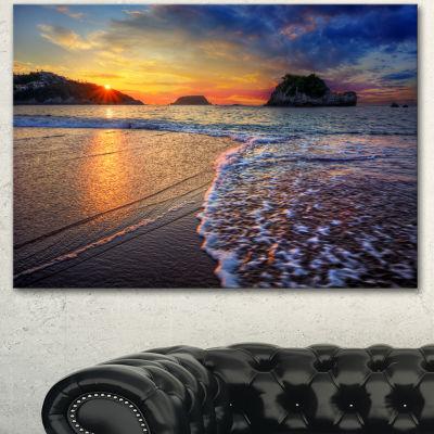 Designart Sandy Beach With Rush Waves Seashore Canvas Art Print - 3 Panels