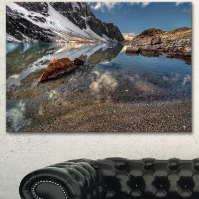 Designart Sapphire Mountain Lake View Landscape Canvas Art Print - 3 Panels