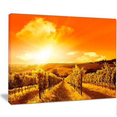 Designart Scenic Sunset Road In Italy Large Landscape Canvas Art