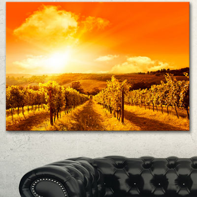 Designart Scenic Sunset Road In Italy Large Landscape Canvas Art - 3 Panels