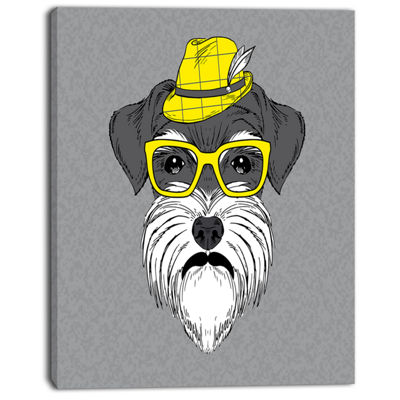 Designart Schnauzer With Hat And Glasses Contemporary Animal Art Canvas
