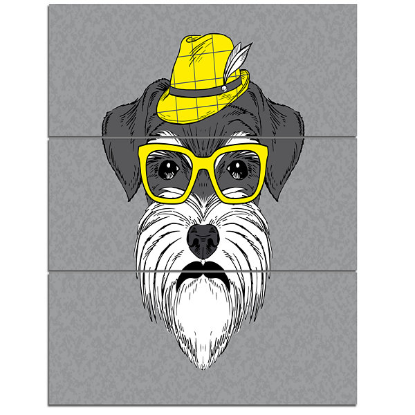 Design Art Schnauzer With Hat And Glasses Contemporary Animal Art Canvas - 3 Panels