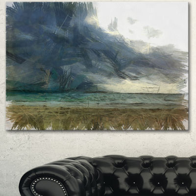 Designart Sea Before Storm Watercolor Landscape Canvas Wall Art - 3 Panels