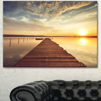 Designart Sea Pier Under Beautiful Cloudscape Modern Canvas Art Print - 3 Panels
