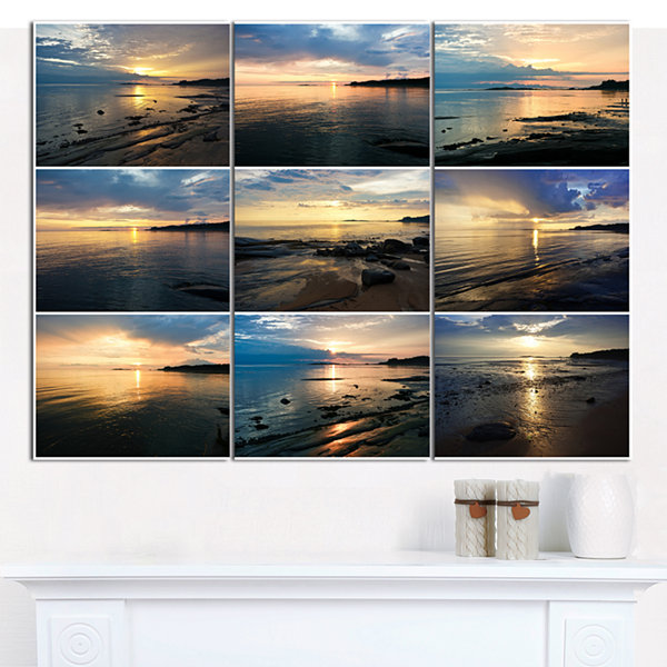 Designart Sea Sunset Collage Landscape Canvas ArtPrint - 3 Panels