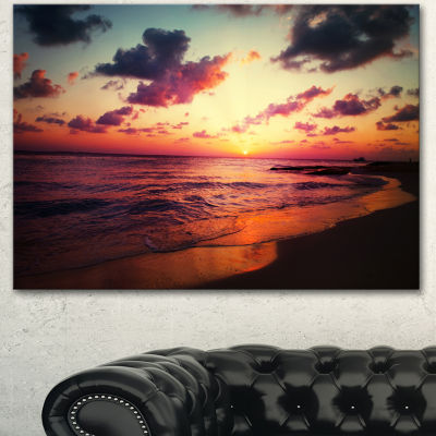 Designart Sea Sunset Landscape View Large SeashoreCanvas Wall Art - 3 Panels