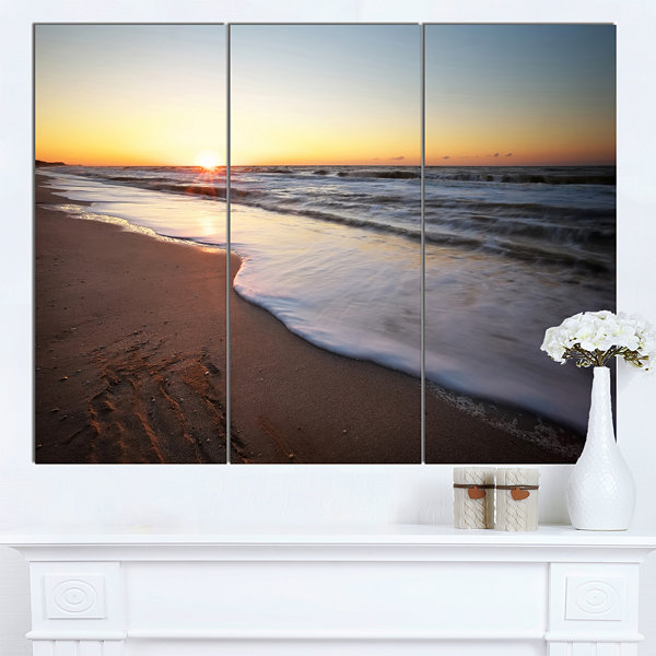 Design Art Seashore Under Fiery Sunset Sky ModernSeashore Canvas Art - 3 Panels
