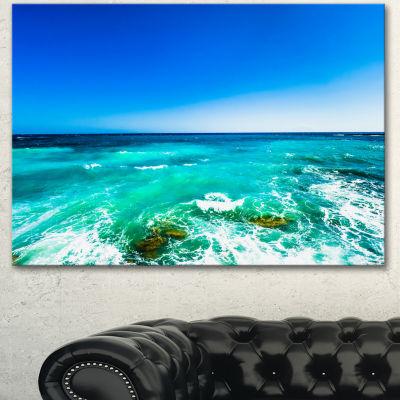Designart Seashore With Clear Water And Sky ModernSeashore Canvas Art - 3 Panels