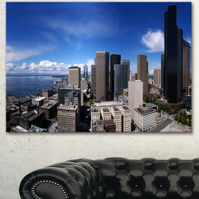 Designart Seattle Downtown From Smith Tower ExtraLarge Canvas Art Print - 3 Panels