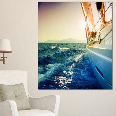 Designart Sepia Toned Yacht Sailing In Sea LargeSeashore Canvas Wall Art - 3 Panels