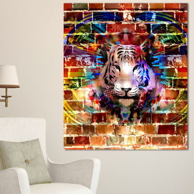 Designart Tiger Over Abstract Brick Design Abstract Wall Art Canvas