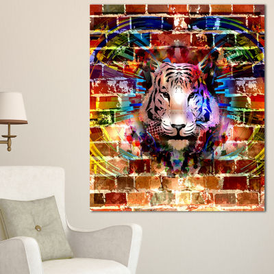 Designart Tiger Over Abstract Brick Design Abstract Wall Art Canvas - 3 Panels