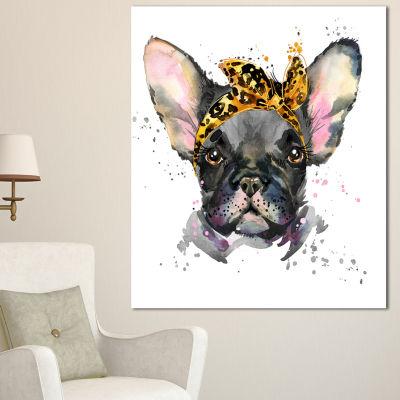 Designart Serious Black French Bulldog Animal Canvas Wall Art - 3 Panels